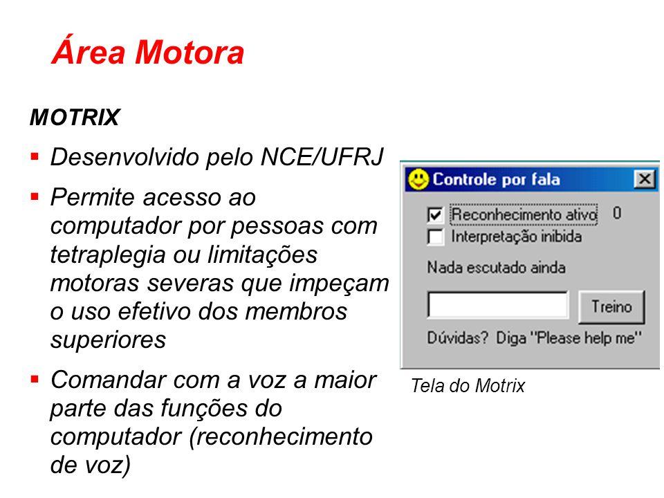 MOTRIX Desenvolvido pelo NCE/UFRJ Permite acesso ao computador por pessoas com tetraplegia ou limitações motoras severas que impeçam o uso efetivo dos