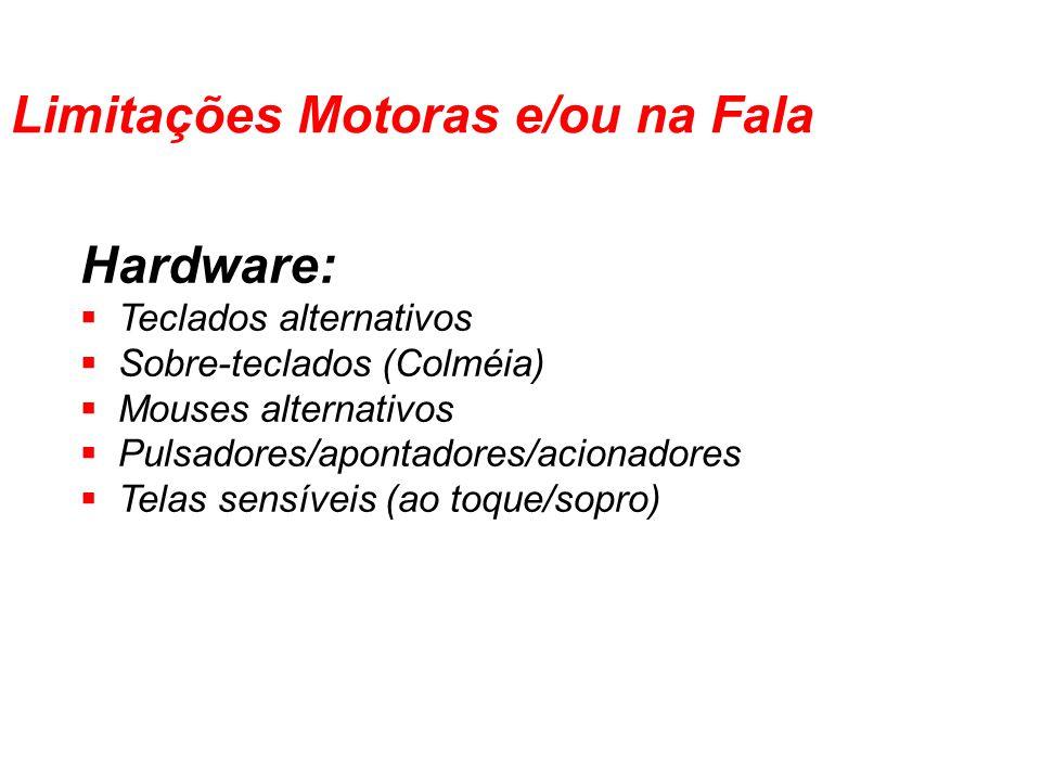 Hardware: Teclados alternativos Sobre-teclados (Colméia) Mouses alternativos Pulsadores/apontadores/acionadores Telas sensíveis (ao toque/sopro) Limit