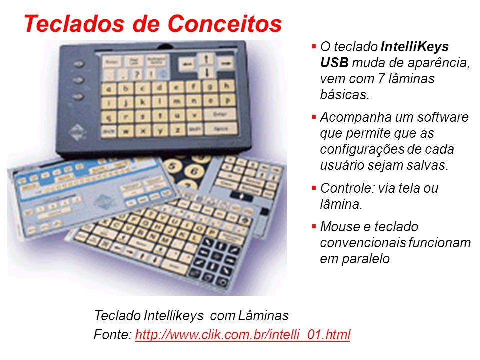 Teclado Intellikeys com Lâminas Fonte: http://www.clik.com.br/intelli_01.htmlhttp://www.clik.com.br/intelli_01.html O teclado IntelliKeys USB muda de