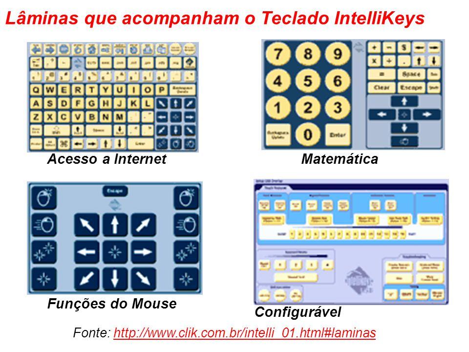 Acesso a Internet Matemática Funções do Mouse Configurável Lâminas que acompanham o Teclado IntelliKeys Fonte: http://www.clik.com.br/intelli_01.html#