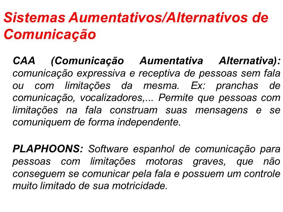 CAA (Comunicação Aumentativa Alternativa): comunicação expressiva e receptiva de pessoas sem fala ou com limitações da mesma. Ex: pranchas de comunica