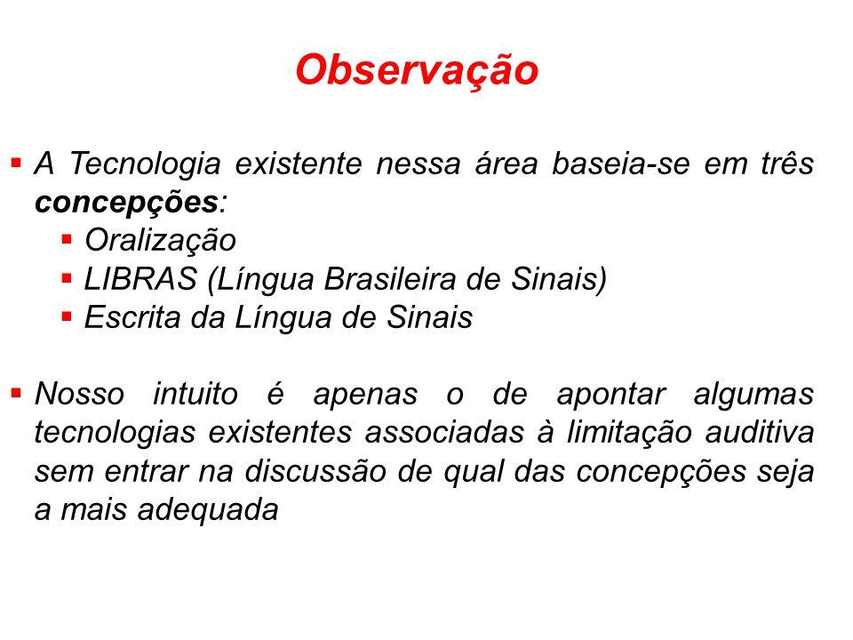 A Tecnologia existente nessa área baseia-se em três concepções: Oralização LIBRAS (Língua Brasileira de Sinais) Escrita da Língua de Sinais Nosso intu