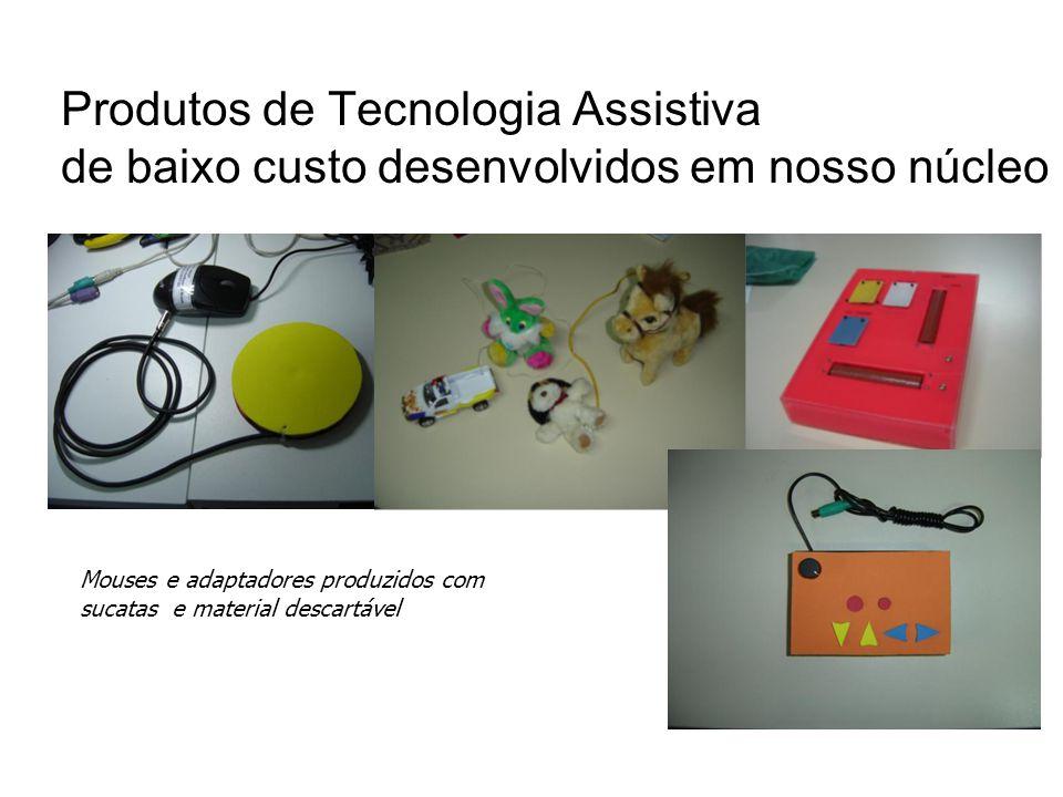Produtos de Tecnologia Assistiva de baixo custo desenvolvidos em nosso núcleo Mouses e adaptadores produzidos com sucatas e material descartável