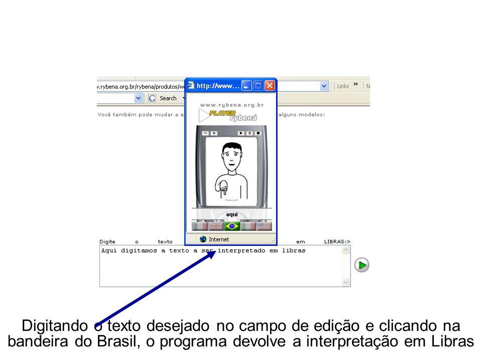 Digitando o texto desejado no campo de edição e clicando na bandeira do Brasil, o programa devolve a interpretação em Libras