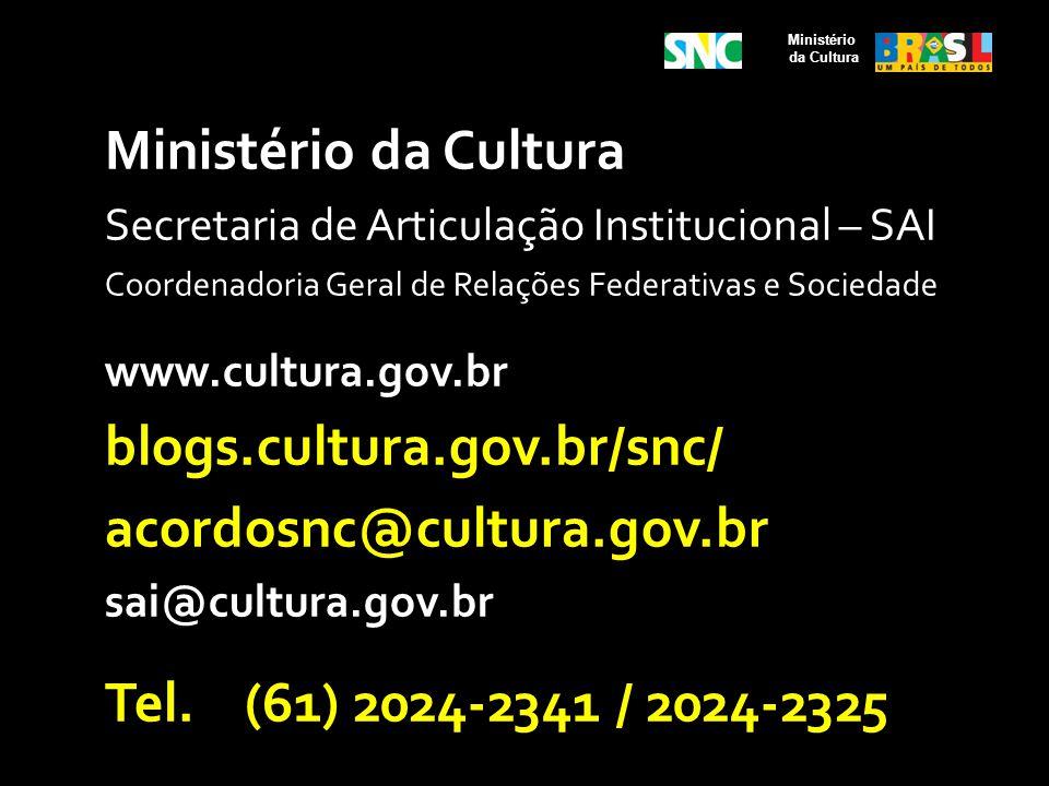 Ministério da Cultura Secretaria de Articulação Institucional – SAI Coordenadoria Geral de Relações Federativas e Sociedade www.cultura.gov.br blogs.c