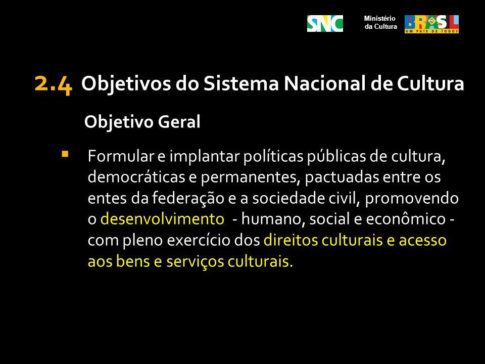 2.4 Objetivos do Sistema Nacional de Cultura Objetivo Geral Formular e implantar políticas públicas de cultura, democráticas e permanentes, pactuadas