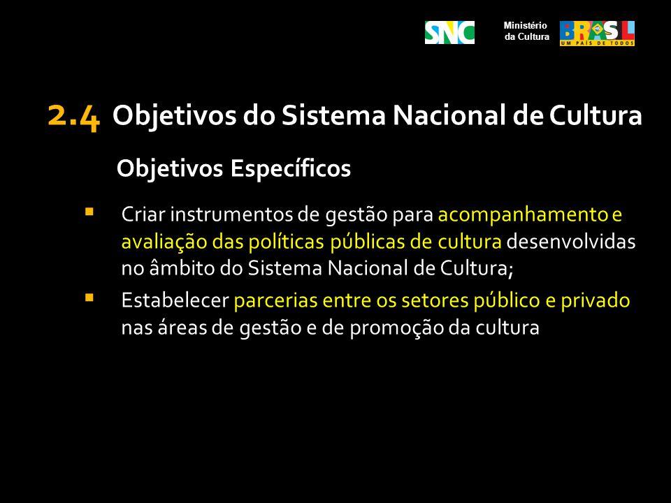 2.4 Objetivos do Sistema Nacional de Cultura Objetivos Específicos Criar instrumentos de gestão para acompanhamento e avaliação das políticas públicas
