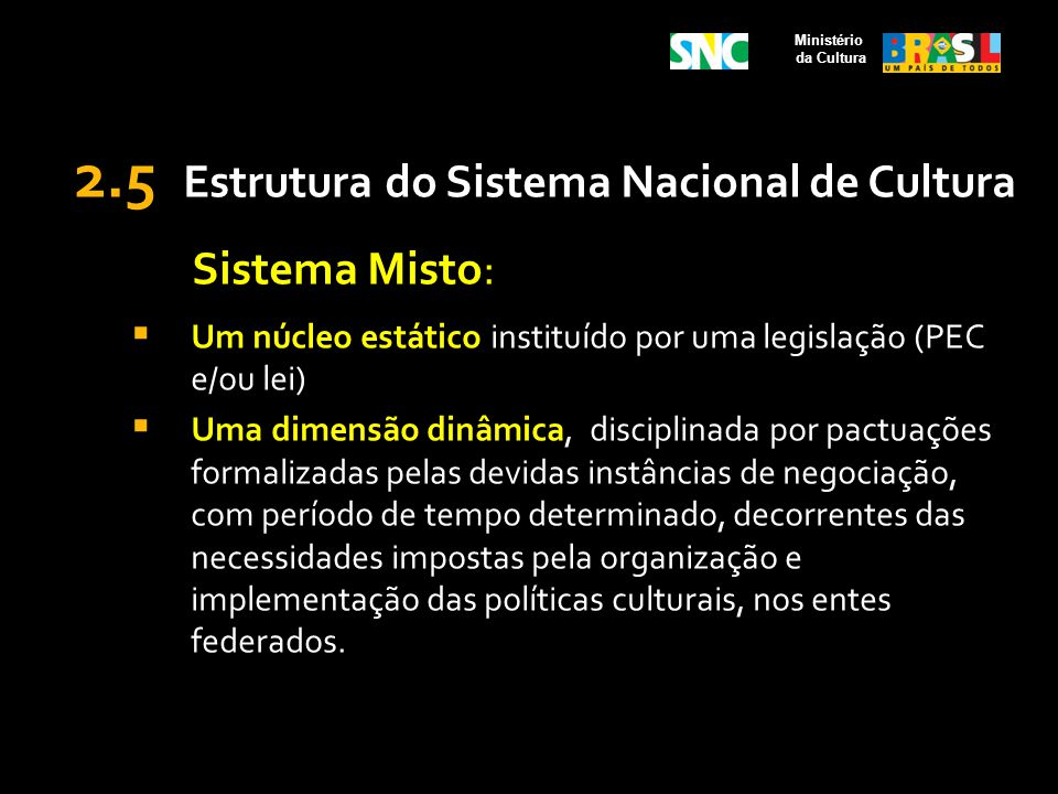 2.5 Estrutura do Sistema Nacional de Cultura Sistema Misto: Um núcleo estático instituído por uma legislação (PEC e/ou lei) Uma dimensão dinâmica, dis