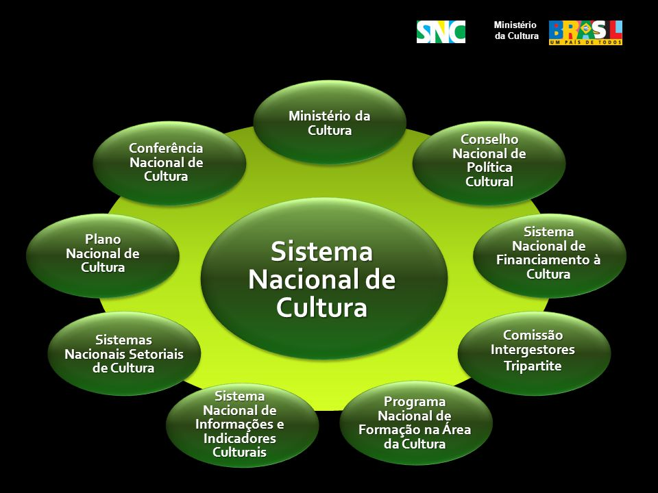 Ministério da Cultura Conselho Nacional de Política Cultural Ministério da Cultura Sistema Nacional de Financiamento à Cultura Sistema Nacional de Inf
