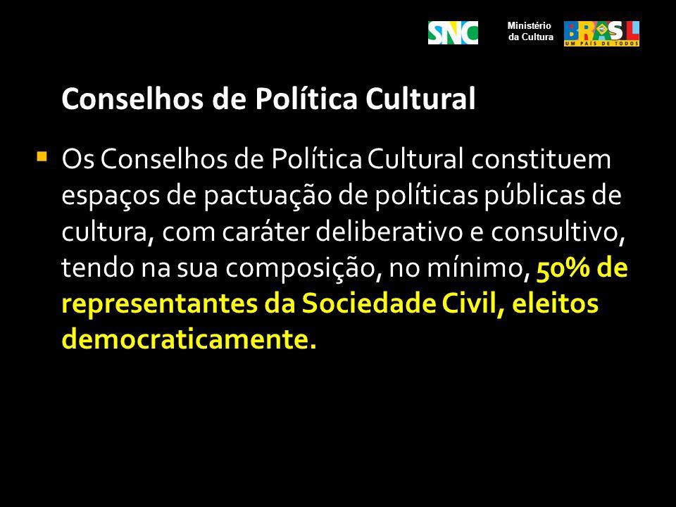 Conselhos de Política Cultural Os Conselhos de Política Cultural constituem espaços de pactuação de políticas públicas de cultura, com caráter deliber