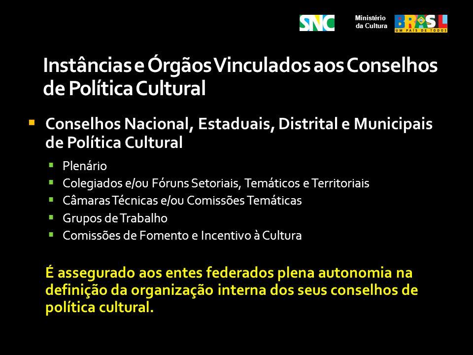 Instâncias e Órgãos Vinculados aos Conselhos de Política Cultural Conselhos Nacional, Estaduais, Distrital e Municipais de Política Cultural Plenário