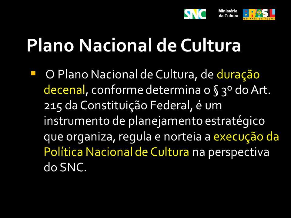 Plano Nacional de Cultura O Plano Nacional de Cultura, de duração decenal, conforme determina o § 3º do Art. 215 da Constituição Federal, é um instrum