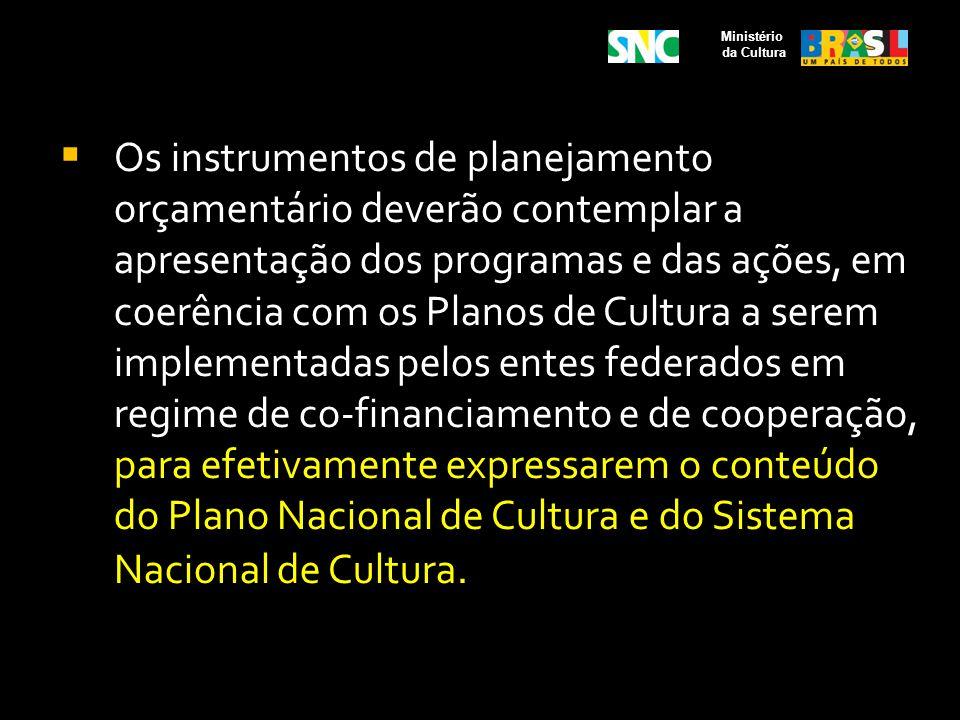 Os instrumentos de planejamento orçamentário deverão contemplar a apresentação dos programas e das ações, em coerência com os Planos de Cultura a sere