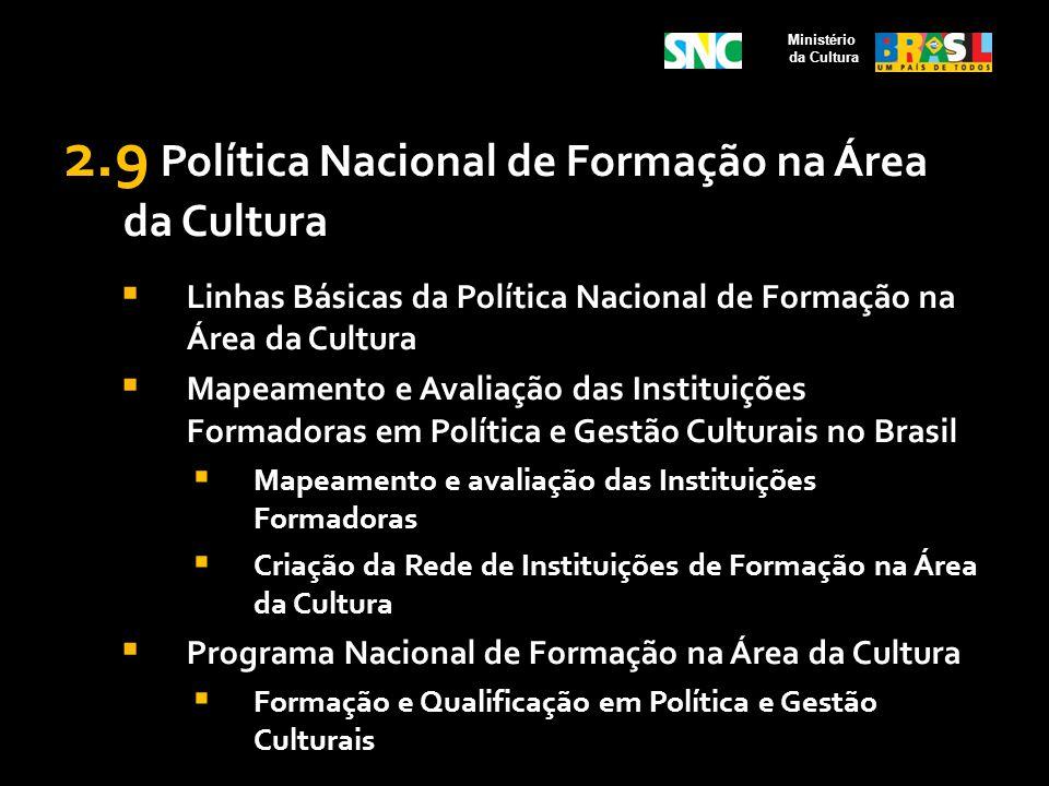 2.9 Política Nacional de Formação na Área da Cultura Linhas Básicas da Política Nacional de Formação na Área da Cultura Mapeamento e Avaliação das Ins