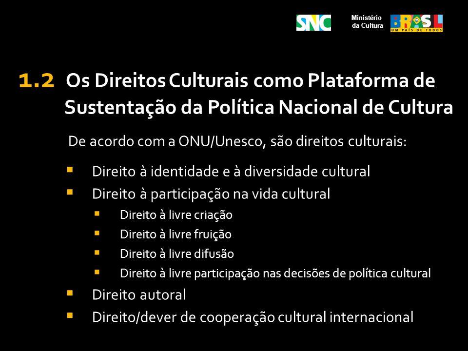 1.2 Os Direitos Culturais como Plataforma de Sustentação da Política Nacional de Cultura De acordo com a ONU/Unesco, são direitos culturais: Direito à
