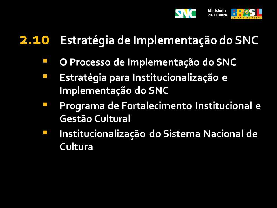2.10 Estratégia de Implementação do SNC O Processo de Implementação do SNC Estratégia para Institucionalização e Implementação do SNC Programa de Fort