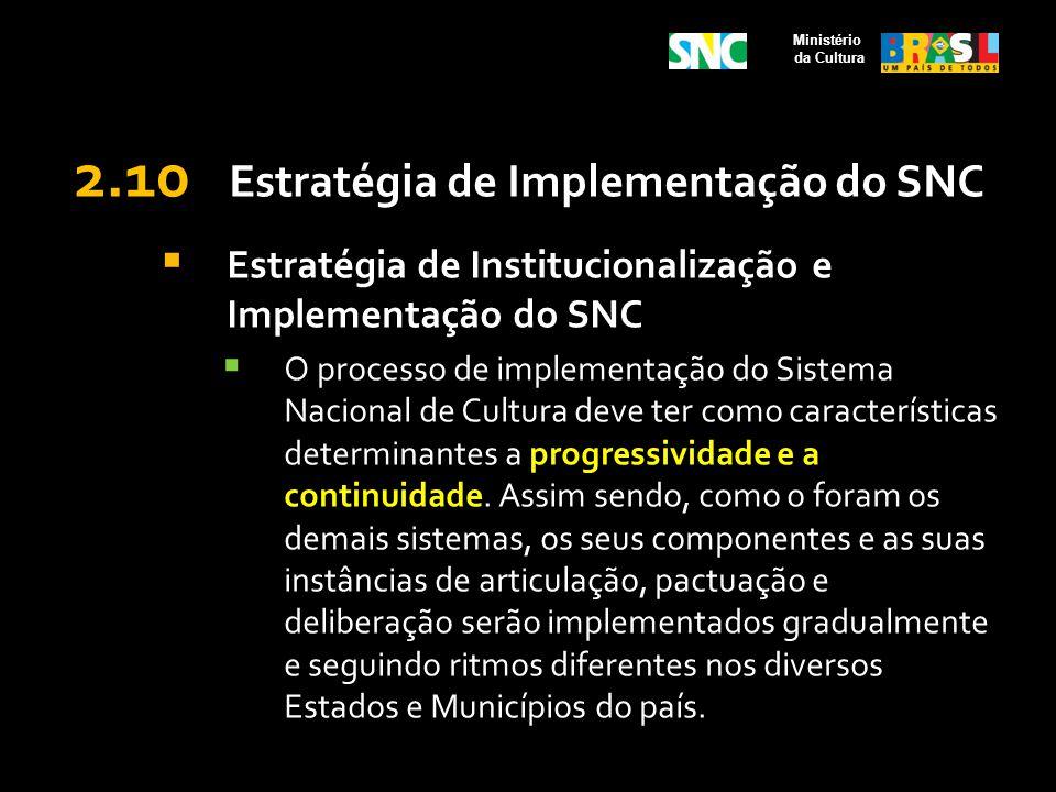 2.10 Estratégia de Implementação do SNC Estratégia de Institucionalização e Implementação do SNC O processo de implementação do Sistema Nacional de Cu