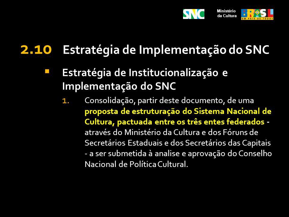 2.10 Estratégia de Implementação do SNC Estratégia de Institucionalização e Implementação do SNC 1. Consolidação, partir deste documento, de uma propo