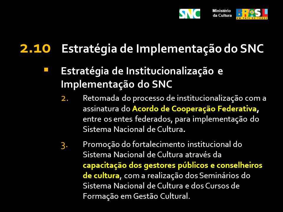 2.10 Estratégia de Implementação do SNC Estratégia de Institucionalização e Implementação do SNC 2. Retomada do processo de institucionalização com a