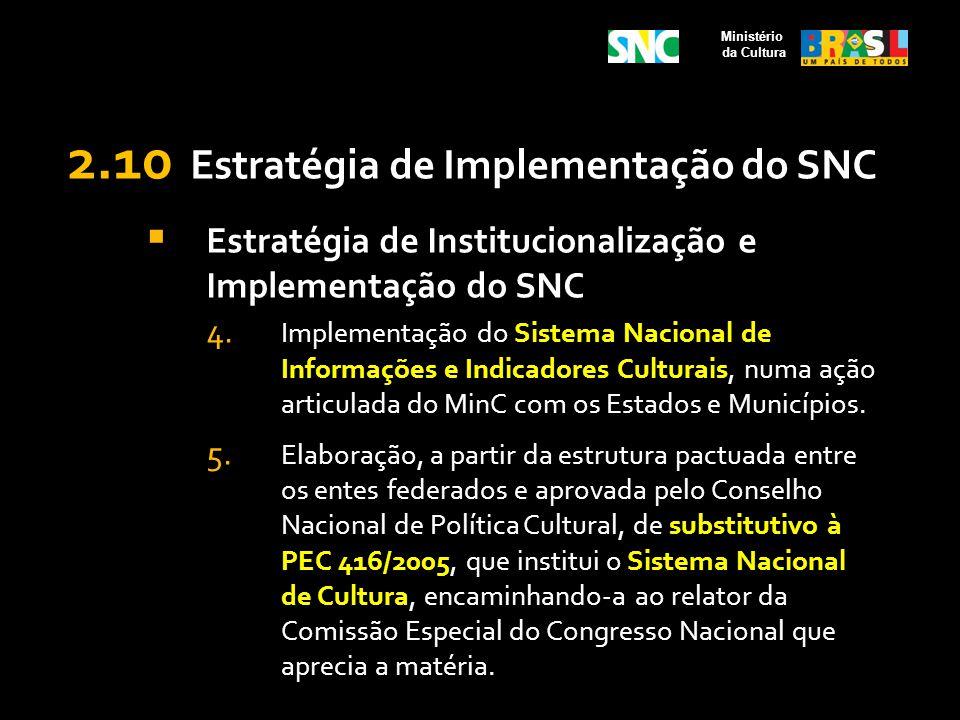 2.10 Estratégia de Implementação do SNC Estratégia de Institucionalização e Implementação do SNC 4. Implementação do Sistema Nacional de Informações e