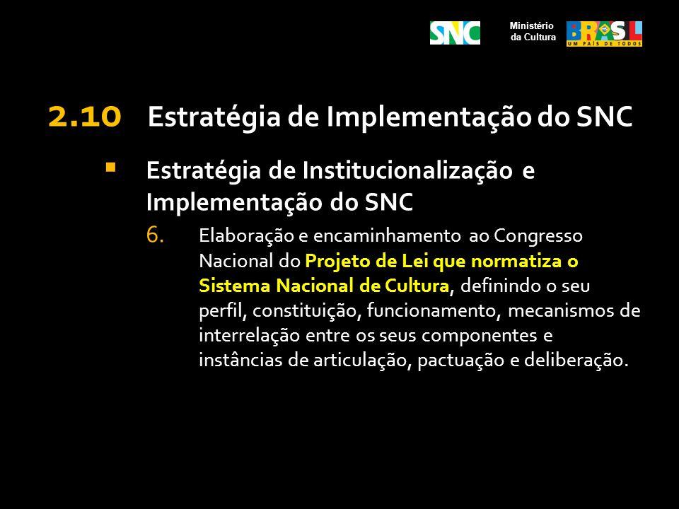 2.10 Estratégia de Implementação do SNC Estratégia de Institucionalização e Implementação do SNC 6. Elaboração e encaminhamento ao Congresso Nacional