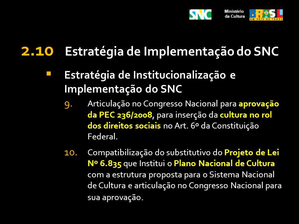 2.10 Estratégia de Implementação do SNC Estratégia de Institucionalização e Implementação do SNC 9. Articulação no Congresso Nacional para aprovação d