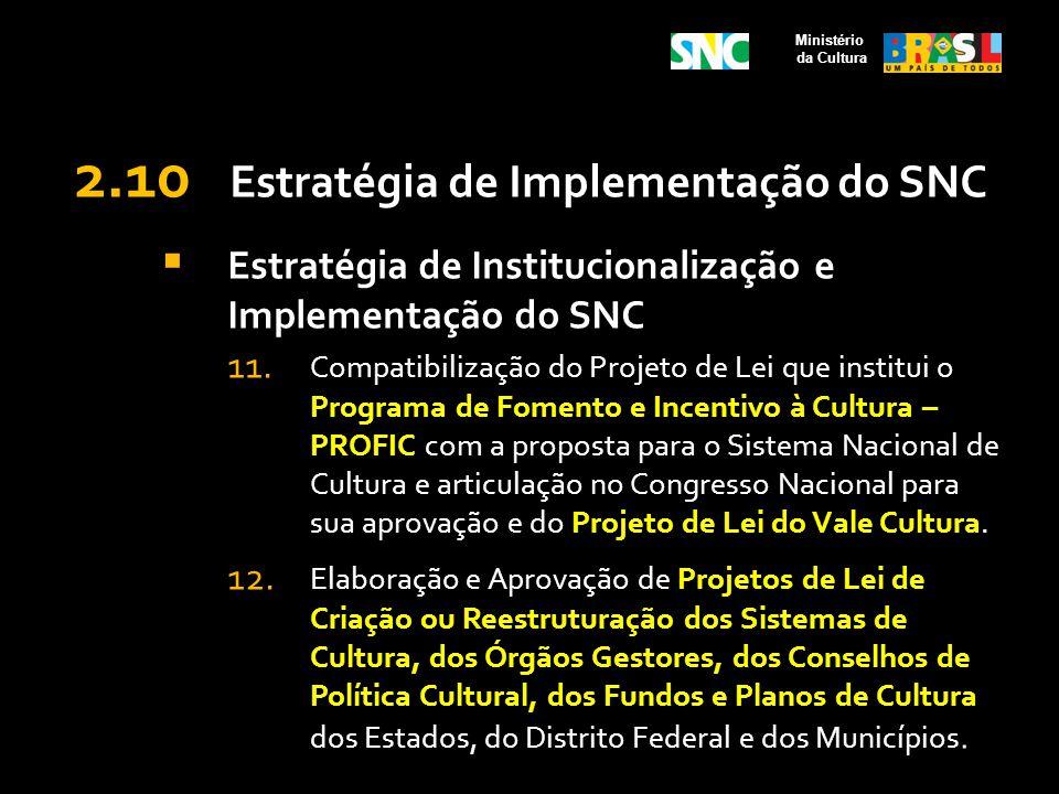 2.10 Estratégia de Implementação do SNC Estratégia de Institucionalização e Implementação do SNC 11. Compatibilização do Projeto de Lei que institui o