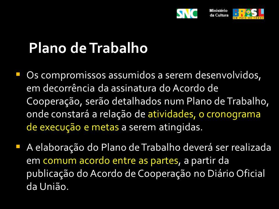 Plano de Trabalho Os compromissos assumidos a serem desenvolvidos, em decorrência da assinatura do Acordo de Cooperação, serão detalhados num Plano de