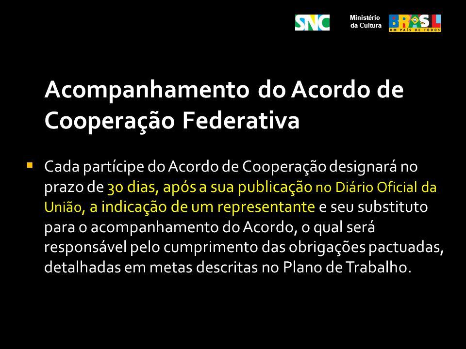 Acompanhamento do Acordo de Cooperação Federativa Cada partícipe do Acordo de Cooperação designará no prazo de 30 dias, após a sua publicação no Diári