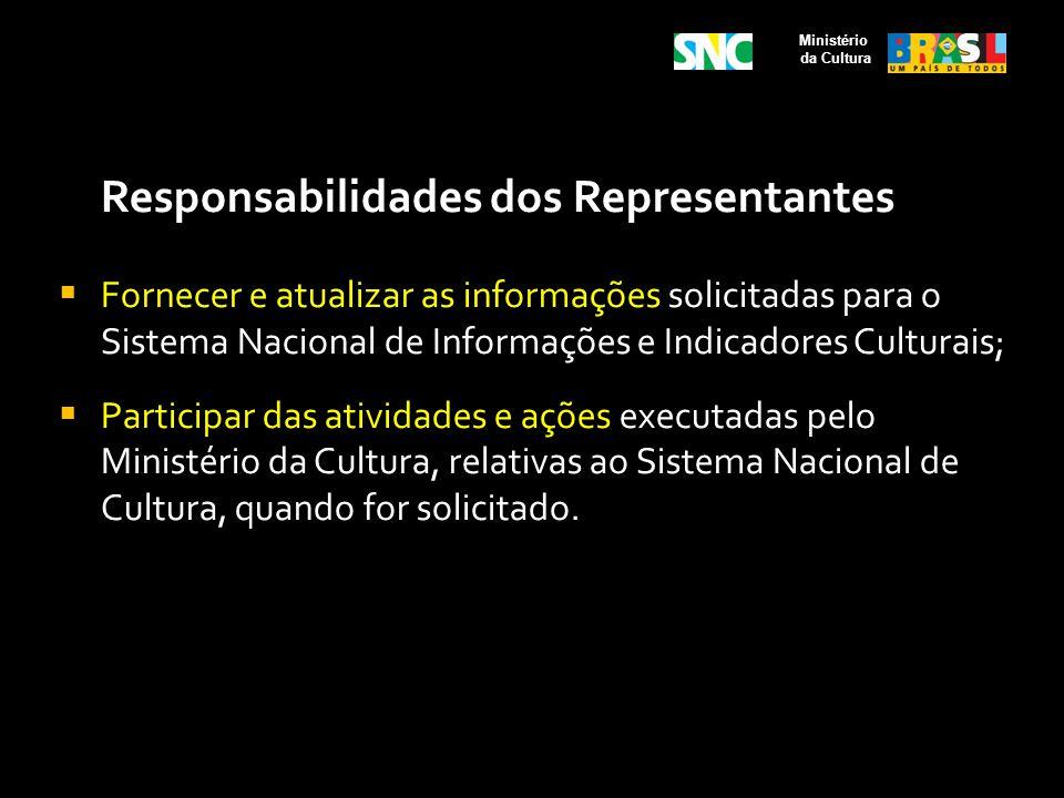 Responsabilidades dos Representantes Fornecer e atualizar as informações solicitadas para o Sistema Nacional de Informações e Indicadores Culturais; P