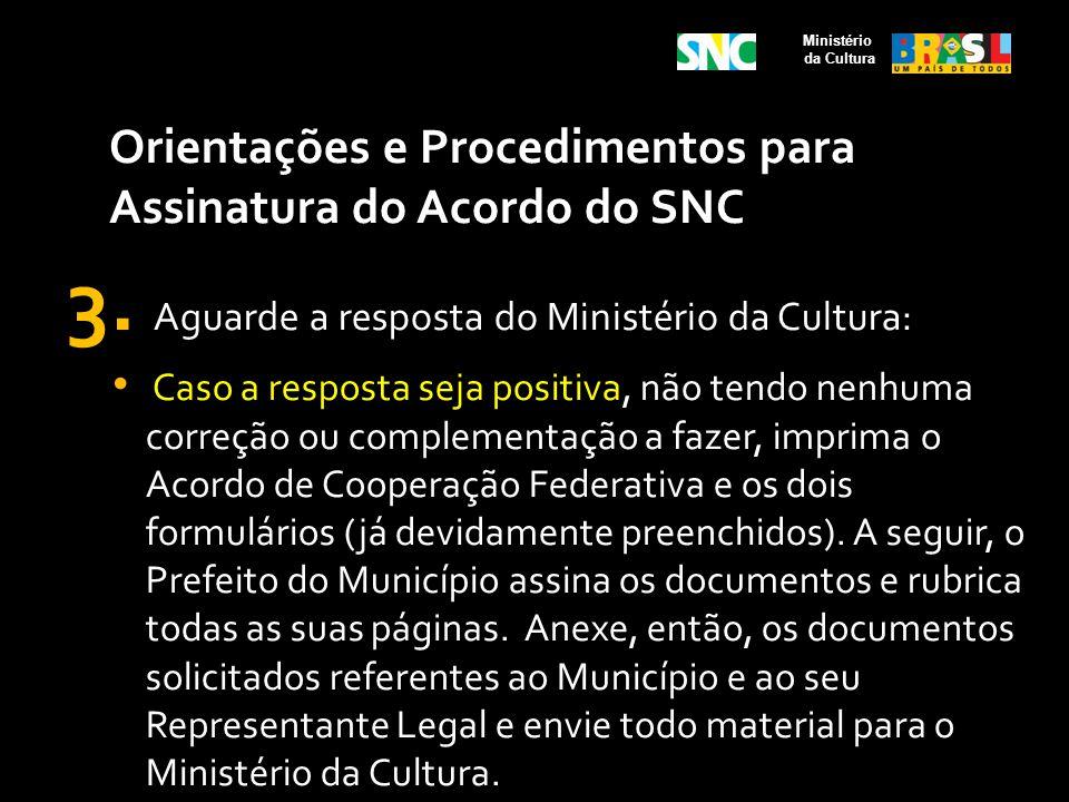 Orientações e Procedimentos para Assinatura do Acordo do SNC 3. Aguarde a resposta do Ministério da Cultura: Caso a resposta seja positiva, não tendo