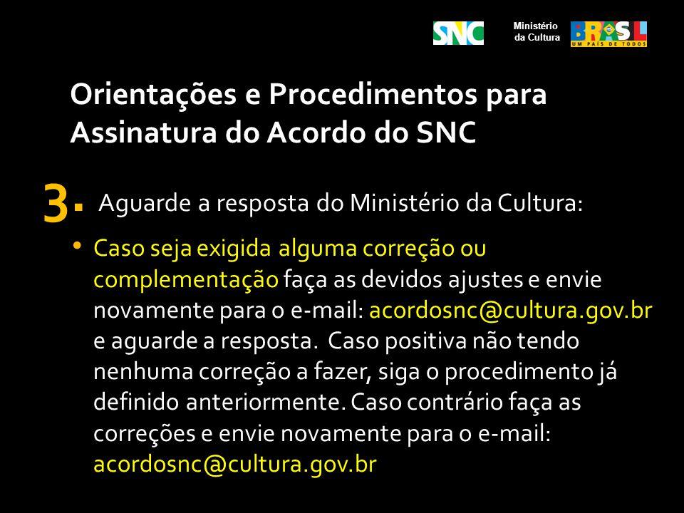 Orientações e Procedimentos para Assinatura do Acordo do SNC 3. Aguarde a resposta do Ministério da Cultura: Caso seja exigida alguma correção ou comp