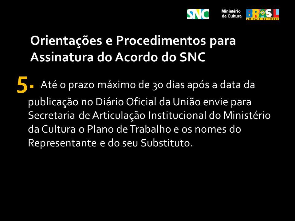 Orientações e Procedimentos para Assinatura do Acordo do SNC 5. Até o prazo máximo de 30 dias após a data da publicação no Diário Oficial da União env