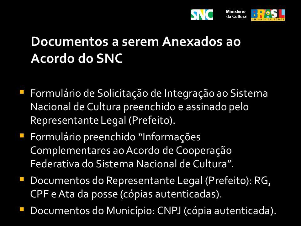 Documentos a serem Anexados ao Acordo do SNC Formulário de Solicitação de Integração ao Sistema Nacional de Cultura preenchido e assinado pelo Represe