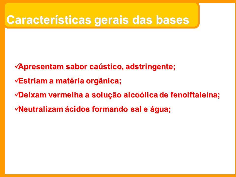 Características gerais das bases Apresentam sabor caústico, adstringente; Apresentam sabor caústico, adstringente; Estriam a matéria orgânica; Estriam