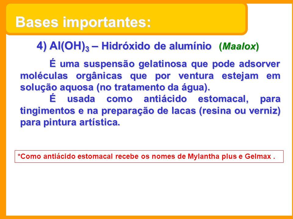 4) Al(OH) 3 – Hidróxido de alumínio (Maalox) É uma suspensão gelatinosa que pode adsorver moléculas orgânicas que por ventura estejam em solução aquos