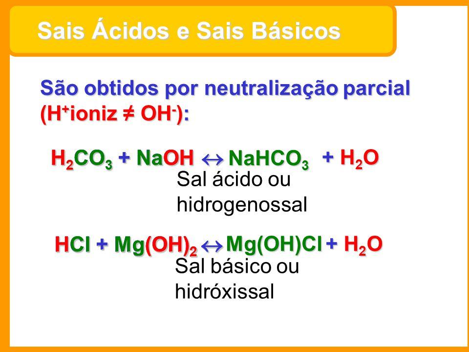 Sais Ácidos e Sais Básicos Sais Ácidos e Sais Básicos São obtidos por neutralização parcial (H + ioniz OH - ): H 2 CO 3 + NaOH H 2 CO 3 + NaOH + H 2 O