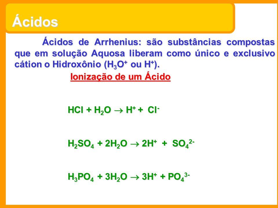 Ácidos Ácidos de Arrhenius: são substâncias compostas que em solução Aquosa liberam como único e exclusivo cátion o Hidroxônio (H 3 O + ou H + ). Ioni