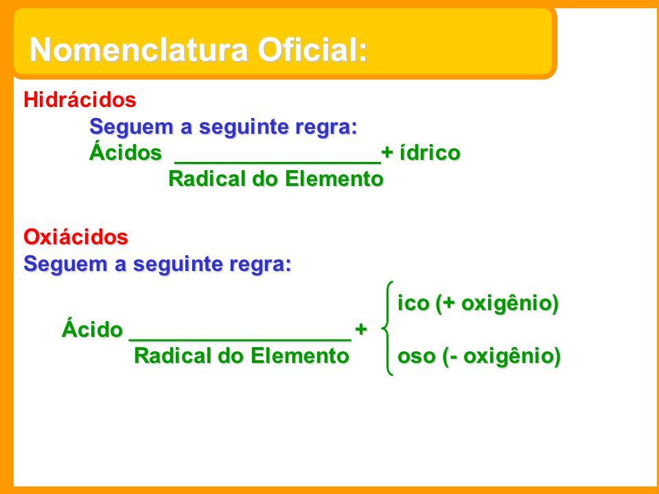 Nomenclatura Oficial: Hidrácidos Seguem a seguinte regra: Ácidos + ídrico Radical do Elemento Radical do Elemento Oxiácidos Seguem a seguinte regra: i