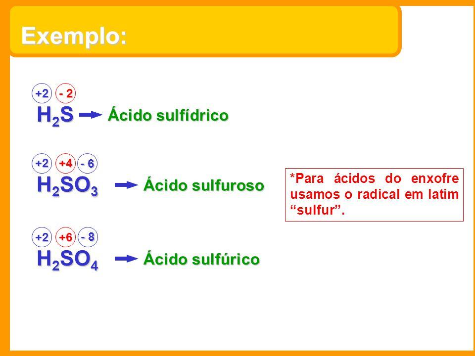 Exemplo: H2SH2SH2SH2S +2 - 2 Ácido sulfídrico H 2 SO 3 +2+4 Ácido sulfuroso H 2 SO 4 +2+6 Ácido sulfúrico - 8 *Para ácidos do enxofre usamos o radical