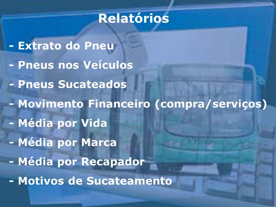 Relatórios - Extrato do Pneu - Pneus nos Veículos - Pneus Sucateados - Movimento Financeiro (compra/serviços) - Média por Vida - Média por Marca - Méd