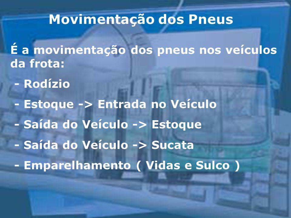 Movimentação dos Pneus É a movimentação dos pneus nos veículos da frota: - Rodízio - Estoque -> Entrada no Veículo - Saída do Veículo -> Estoque - Saí