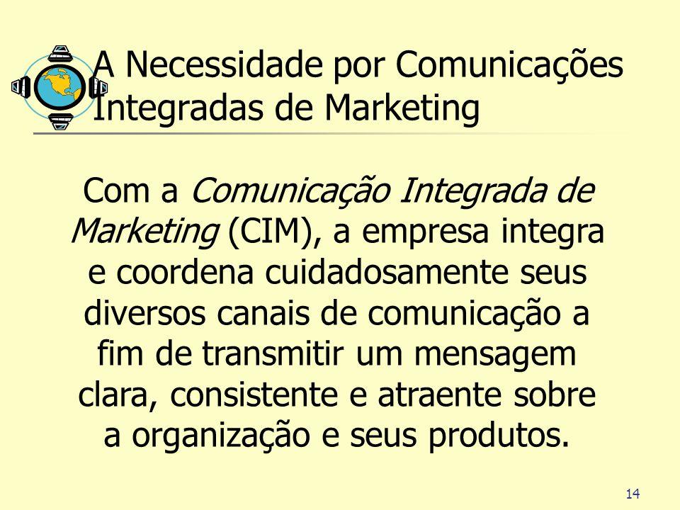 14 A Necessidade por Comunicações Integradas de Marketing Com a Comunicação Integrada de Marketing (CIM), a empresa integra e coordena cuidadosamente