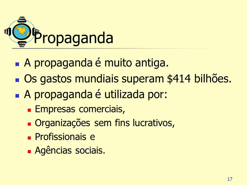 17 Propaganda A propaganda é muito antiga. Os gastos mundiais superam $414 bilhões. A propaganda é utilizada por: Empresas comerciais, Organizações se