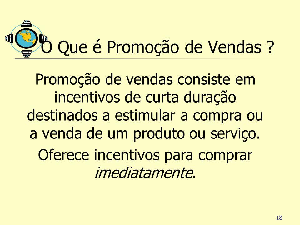 18 O Que é Promoção de Vendas ? Promoção de vendas consiste em incentivos de curta duração destinados a estimular a compra ou a venda de um produto ou