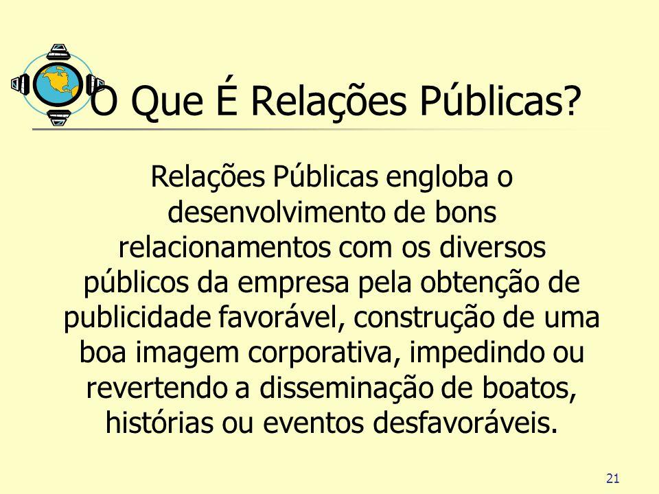 21 O Que É Relações Públicas? Relações Públicas engloba o desenvolvimento de bons relacionamentos com os diversos públicos da empresa pela obtenção de