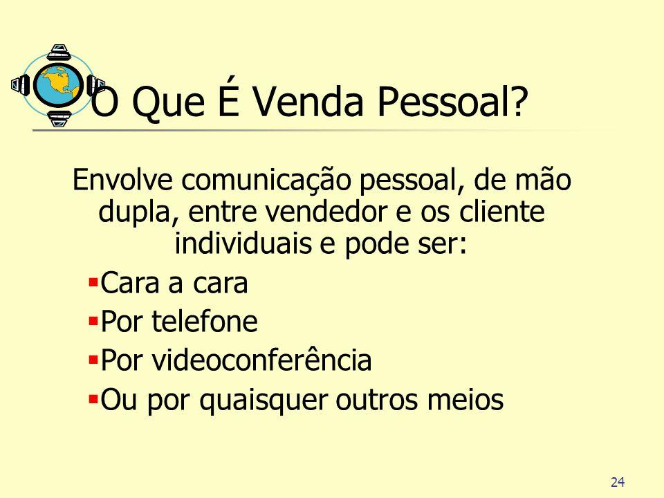 24 O Que É Venda Pessoal? Envolve comunicação pessoal, de mão dupla, entre vendedor e os cliente individuais e pode ser: Cara a cara Por telefone Por