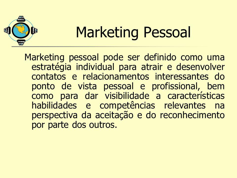 Marketing Pessoal Marketing pessoal pode ser definido como uma estratégia individual para atrair e desenvolver contatos e relacionamentos interessante