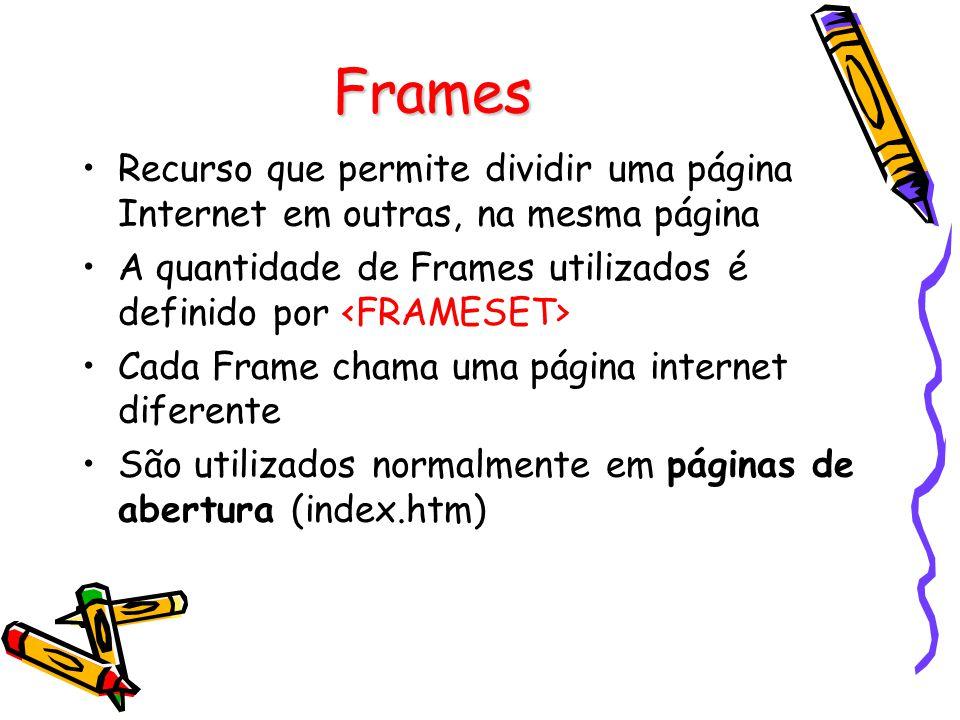 Frames Recurso que permite dividir uma página Internet em outras, na mesma página A quantidade de Frames utilizados é definido por Cada Frame chama uma página internet diferente São utilizados normalmente em páginas de abertura (index.htm)
