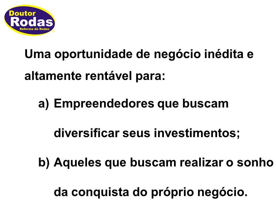 Uma oportunidade de negócio inédita e altamente rentável para: a)Empreendedores que buscam diversificar seus investimentos; b)Aqueles que buscam realizar o sonho da conquista do próprio negócio.